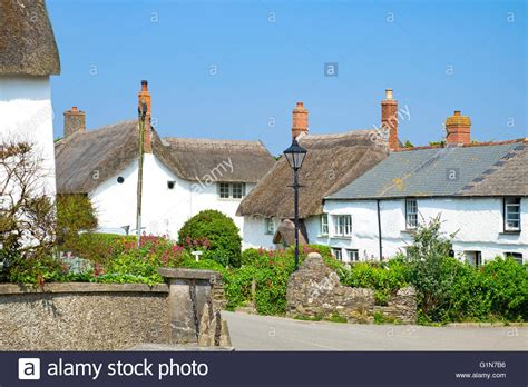 thatched cottages in the of crantock cornwall