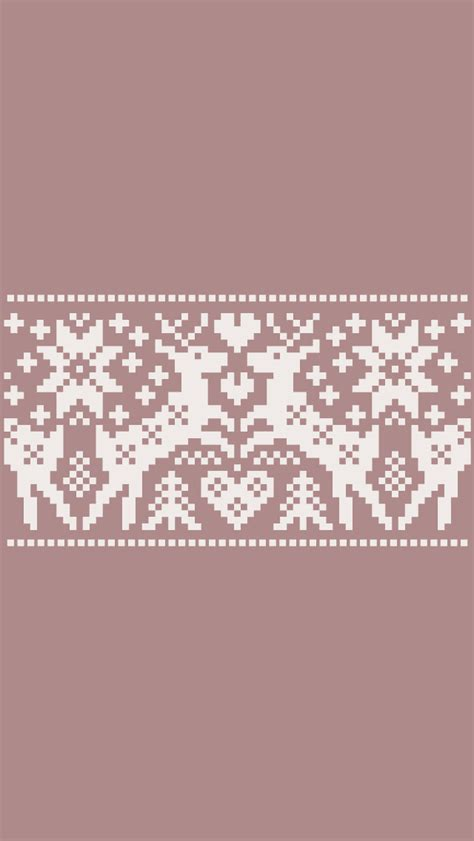 christmas pattern lock screen taupe beige cream reindeers knit pattern iphone wallpaper