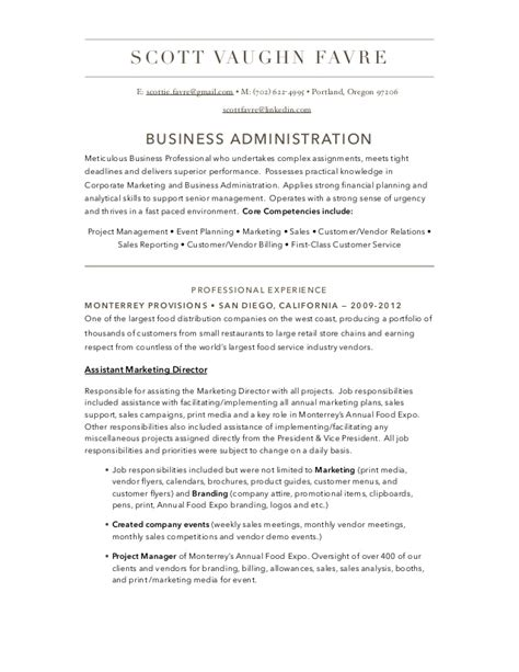 Sle Of A Business Administration Resume Business Administration Resume