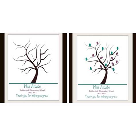 Thank You Card Template With Tree by Customized Fingerprint Tree Print Color Options