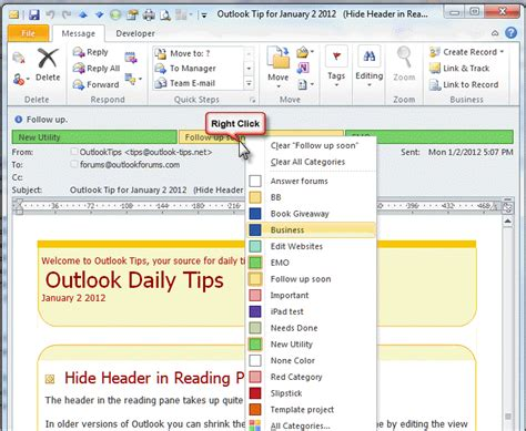 color categories outlook categories flags and imap accounts