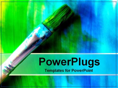 artistic powerpoint templates brush painting blue and green powerpoint template
