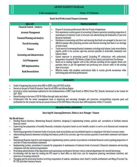resume format for chartered accountants 63 resume formats pdf doc free premium templates