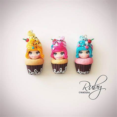 doll polymer clay cupcake dolls polymer clay pendants by ruby creations on