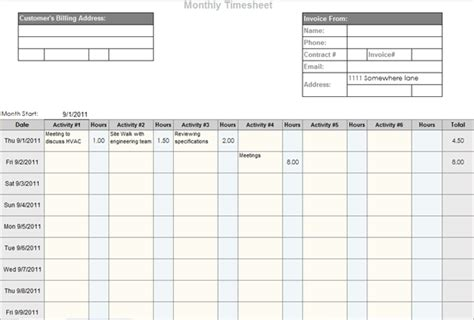 professional timesheet template monthly timesheet template and mileage