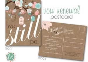 Vow renewal invitation mason jar postcard wedding invitation