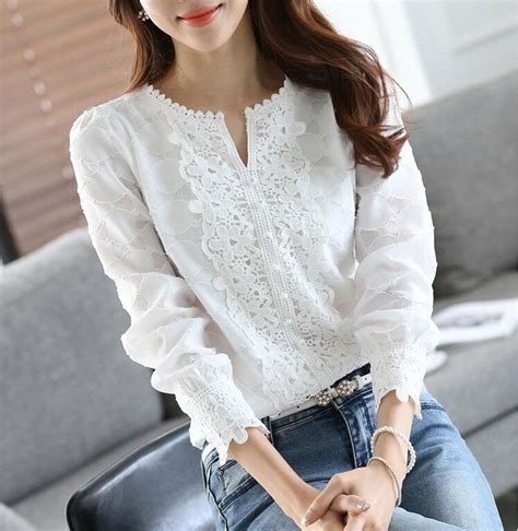 2017 new autumn casual basic lace chiffon blouse shirts solid tops white blusas