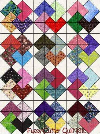 Patchwork Quilt Blocks - scrappy patchwork fabric card trick pattern fast easy to