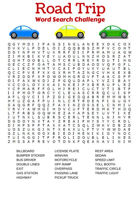 Car Types Word Search by Car Word Search Free Activity Shelter