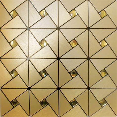 Metal glass mosaic diamond brushed aluminum alucobond tile kitchen backsplash gold acp mh asj