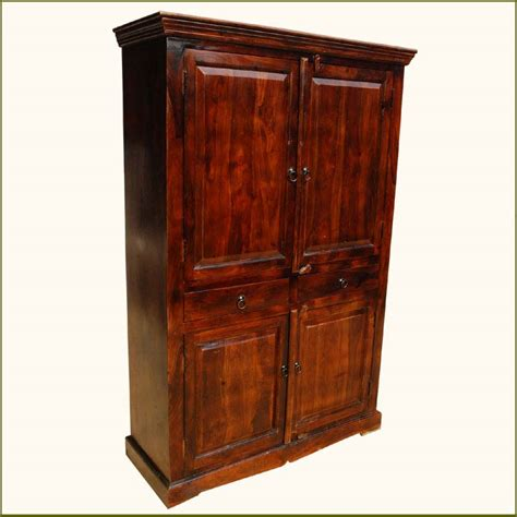 Large Armoire With Drawers Solid Wood Mahogany Clothes Wardrobe Drawer Armoire Indian Rosewood Furniture Ebay