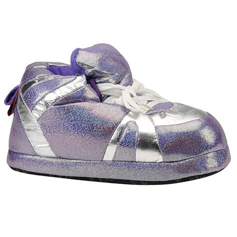 snooki slippers comfy womens purple silver sequined snooki house