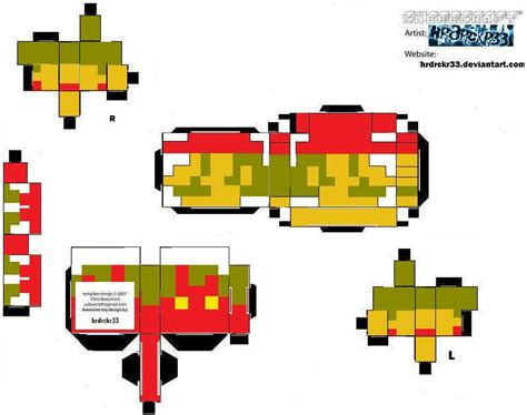 mario paper craft cubee 8 bit mario by hrdrckr33 on deviantart