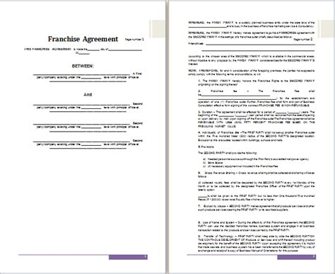franchise agreement template ms word franchise agreement template free agreement