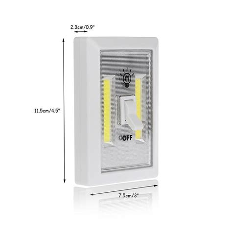 battery powered led light switch 3w cob led wall switch wireless closet cordless night
