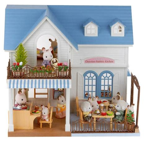 sylvanian dolls house sylvanian families the courtyard restaurant 2 floors dolls house ebay