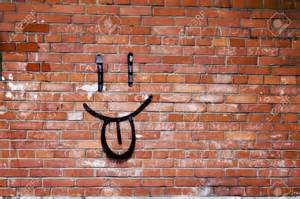 Home design graffiti brick wall background drawing cottage entry the