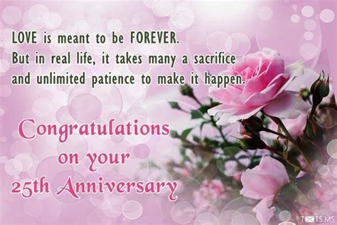 Wedding Anniversary Wishes Sms To by 25th Wedding Anniversary Wishes Messages Quotes Images