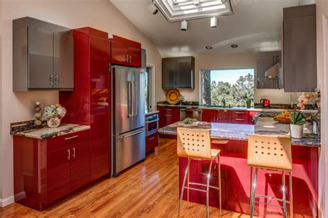 kitchen cabinets design in san francisco gilmans ultra contemporary red high gloss kitchen designed by
