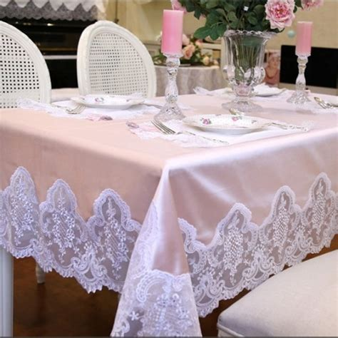 Shabby Home Decor Pink Lace Table Cloth 70120 Taplak Meja shabby chic tablecloth