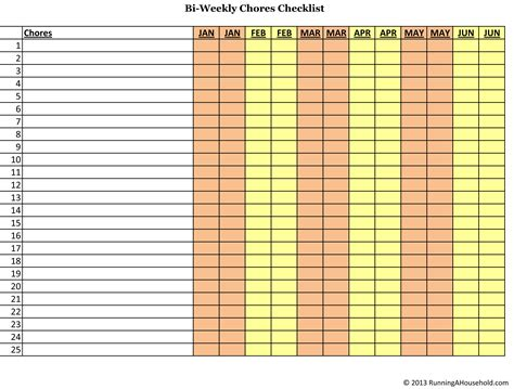 Bi weekly and monthly chores checklist running a household
