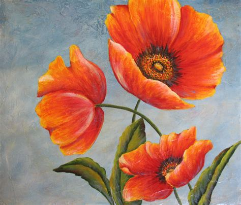 Wall Mural Tutorial three poppies an original acrylic painting by