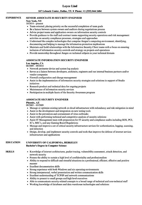 Security Engineer Resume by Associate Security Engineer Resume Sles Velvet