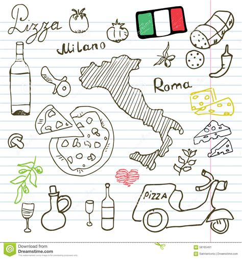 draw doodle free italy doodles elements set with pizza scooter