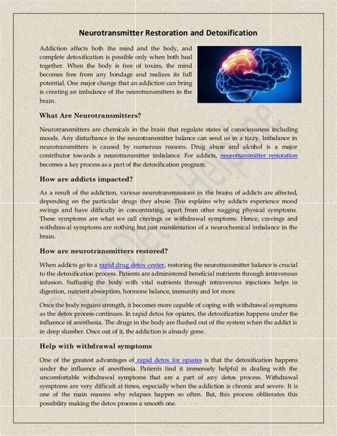 Neurotransmitter Restoration Detox ppt detox therapy neurotransmitter restoration