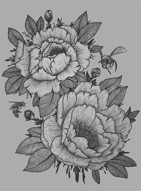 tattoo paper perth tattoo artist flower ink blackandwhite myartwork peonies