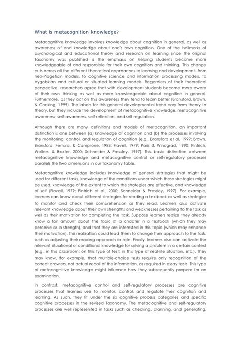 abstract thesis of metacognition metacognitive essay exle metacognitive essay thinking
