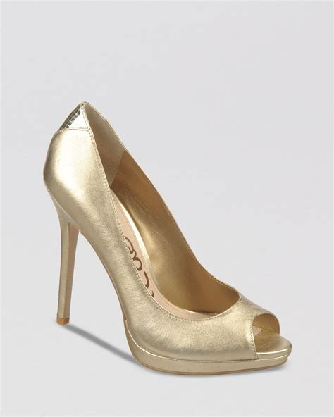 gold high heel gold peep toes heels is heel