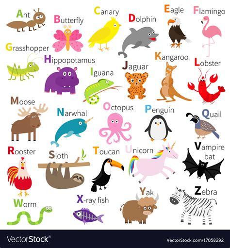 animal alphabet character stock vector zoo animal alphabet character set vector image