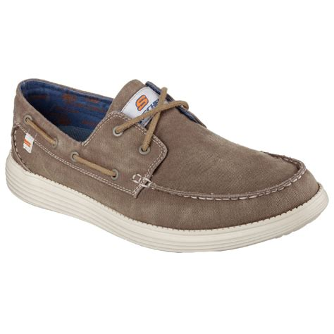 sketcher boat shoes skechers mens status melec lace up boat shoes ebay