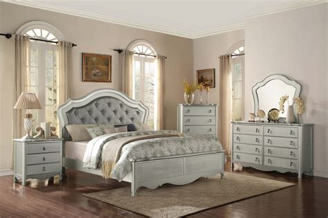 silver bedroom furniture sets 4 piece homelegance toulouse silver finish panel bedroom set 17062 | 4 Piece Homelegance Toulouse Silver Finish Panel Bedroom Set