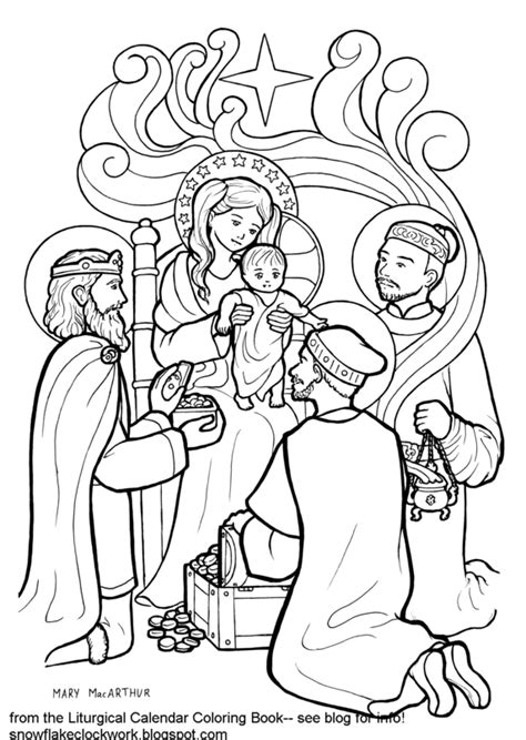 snowflake clockwork epiphany coloring page