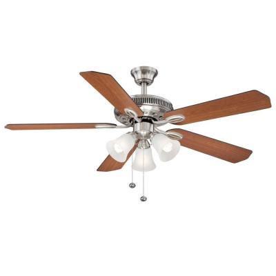 ceiling fan home depot hton bay glendale 52 in brushed nickel ceiling fan