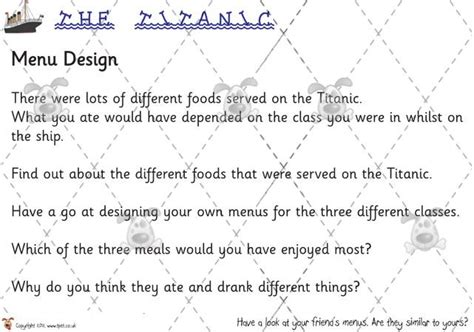 design a menu ks2 teacher s pet titanic menu design premium printable