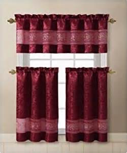 Burgundy Kitchen Curtains Ariel 3 Kitchen Curtain Valance 2 Tiers Burgundy Gold Window Treatment