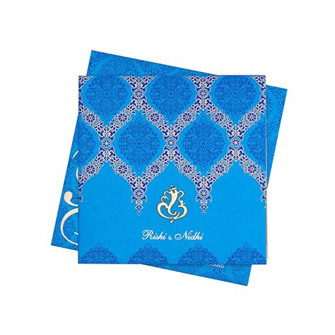 wedding cards design blue designer blue wedding card with ganesha