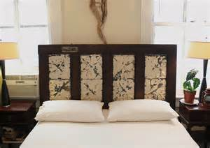 headboard made from salvaged door and by doormandesigns