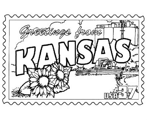Kansas State St Coloring Page Usa Coloring Pages Kc Colour Pages