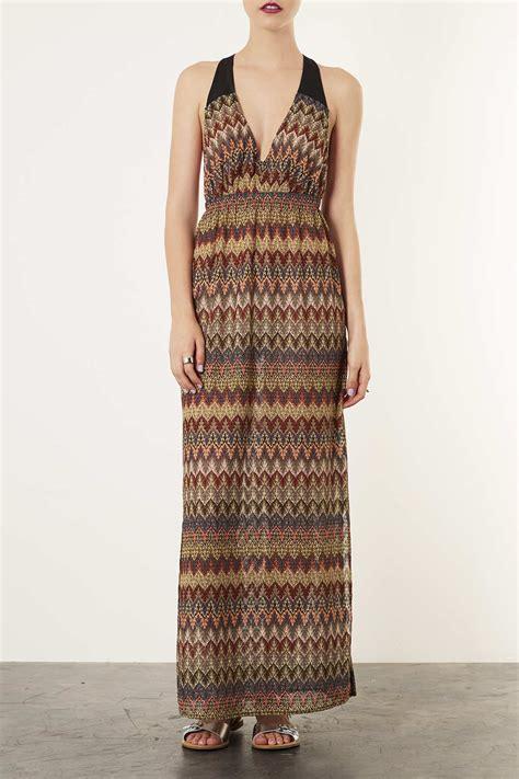 knitted maxi dress uk lyst topshop lurex knitted maxi dress