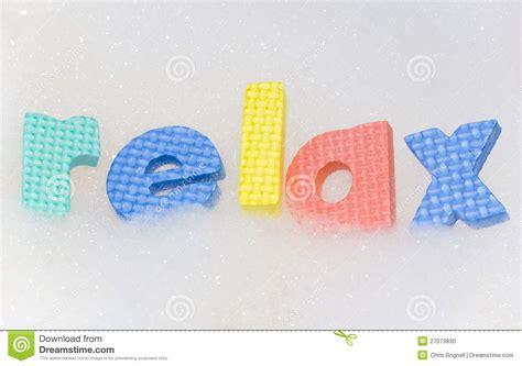 relax letters in bath foam stock photo image