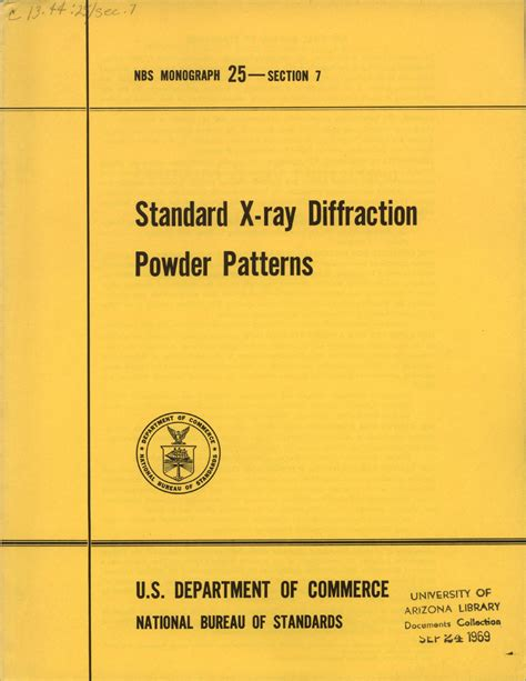 x ray diffraction pattern pdf standard x ray diffraction powder patterns section 7