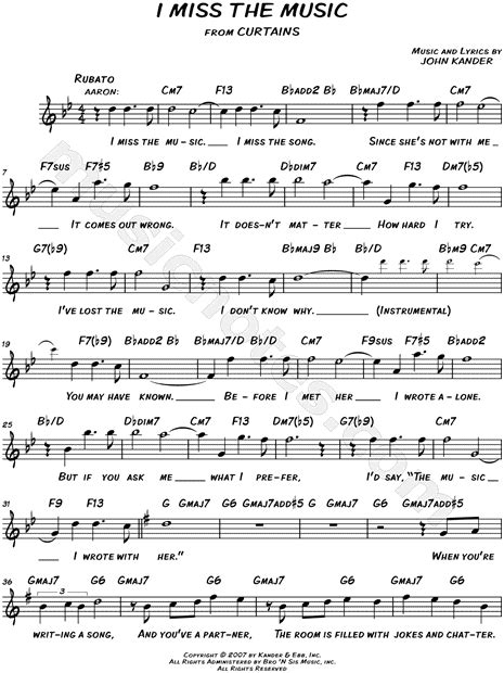 i miss the music curtains quot i miss the music quot from curtains sheet music leadsheet