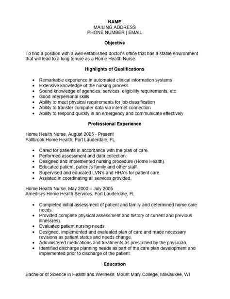 Resume Exles For Home Health Nurses Free Home Health Resume Template Sle Ms Word