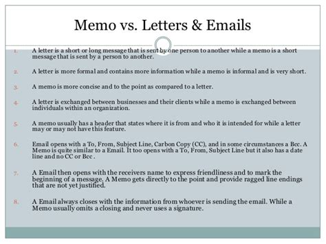 Business Letter Vs Memo Memo And Other Letter Formats