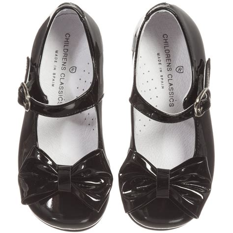 children s classics black patent shoes with bow