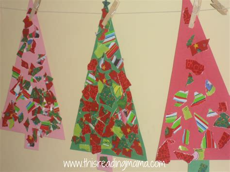Wrapping Paper Crafts - finished torn wrapping paper tree crafts this